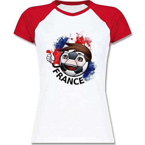 EM 2016 - Frankreich - France Fußballjunge - zweifarbiges Baseballshirt / Raglan T-Shirt für Damen Weiß/Rot