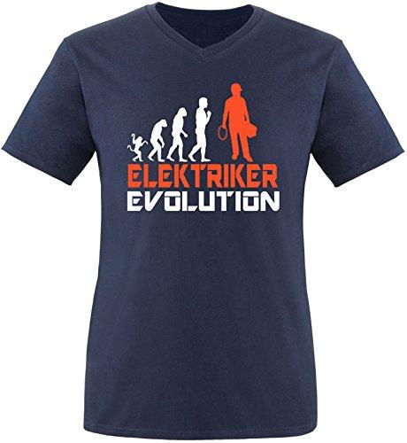 EZYshirt® Elektriker Evolution Herren V-Neck T-Shirt Navy/Weiss/Orange