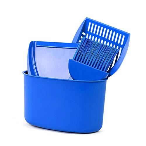 LSS Pet Pooper Scooper, Katze Poop Reinigung 4-teilige Klage, Kunststoff Lagerung Eimer Katzenstreu Haarbürste Multifunktions Box Blau