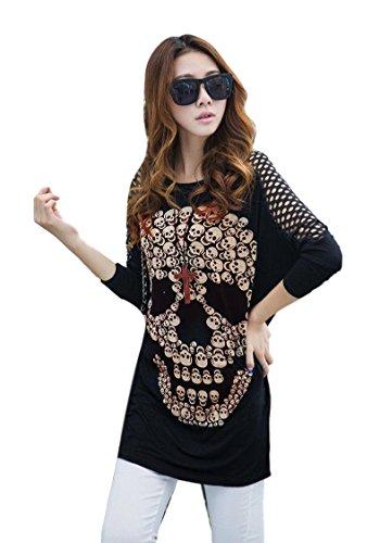 übergroße Skulls Emo Goth Gotik Punk Rock Skull Cool Sexy Top T-Shirt (XL - EU 42-44)