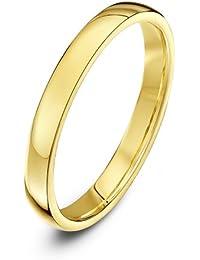Theia Unisex Ehering 9 Karat Gelbgold,Weißgold oder Roségold, Massive Ovale Form, poliert, 2-9mm