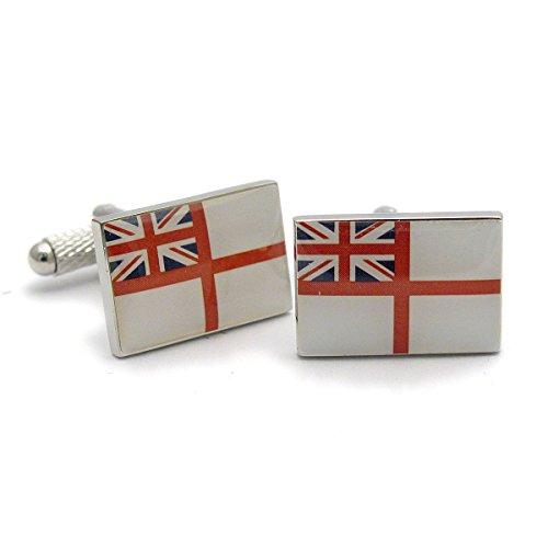Royal White Salt (White Ensign, Flagge der Royal Navy, Onyx Art Manschettenknöpfe, in edler Geschenkbox)