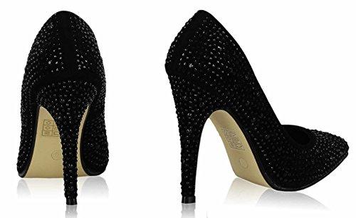 Sandaletten Damen Mit Absatz Pumps Hoher Absatz Damen Spitzschuh Perlen Partei Entwerfer New Promi Style Größe 3-8 Stil 1 - Schwarz