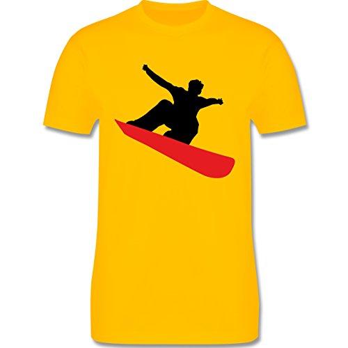Wintersport - Snowboard schnelle Abfahrt - Herren Premium T-Shirt Gelb