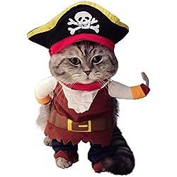Disfraz de capitán pirata para gato, perro o mascotas