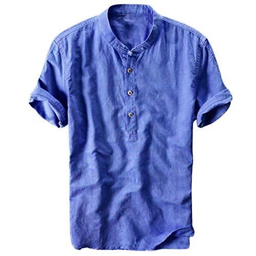 Aoogo Herren T-Shirt, Kurzarm Top Shirt Schlafanzugoberteil Sommer cool und dünn atmungsaktiv Kragen hängen gefärbt Farbverlauf Baumwollhemd