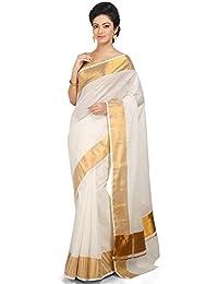 Creaweaves Kasavu Cotton Kerala Jari Border And Gold Pallu Saree With Blouse