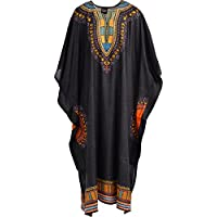 RG Clothing Unisex Mens Womens Kaftan Dress African Design Printed Bank and Front (One Size, Black)