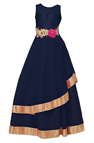 Cartyshop Girls Softnet Partywear Frock Gown (navy blue-43_Navy Blue_6-8 years)