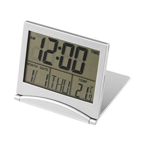 Feeilty Reloj Despertador Digital LCD Repetición Alarma Inteligente Estación Meteorológica Plegable...