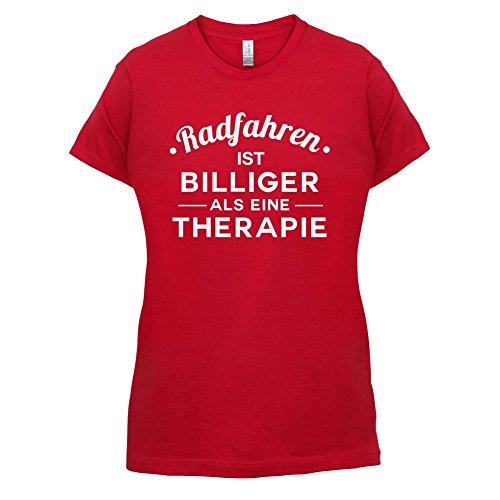 Radfahren ist billiger als eine Therapie - Damen T-Shirt - 14 Farben Rot