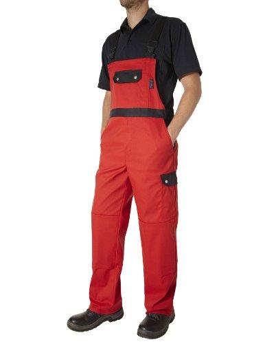 PIONIER WORKWEAR Herren Latzhose Top Comfort Stretch in rotschwarz (Art.-Nr. 2473) rot/schwarz,Größe 28