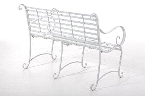 CLP Gartenbank ROY im Landhausstil, aus lackiertem Eisen, 129 x 69 cm – aus bis zu 6 Farben wählen Antik Weiß - 3