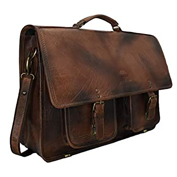 Adwaita 18″Inch handgemaakte antieke volnerfleer vintage Messenger Bag Office aktetas College tas lederen tas voor mannen en vrouwen