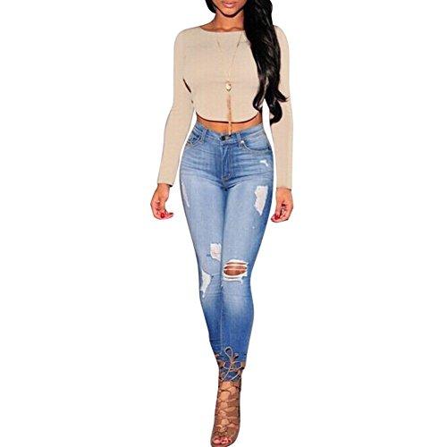 Pinkyee Damen Sexy Fashion Reißverschluss Lange Ärmel T-Shirt Apricot