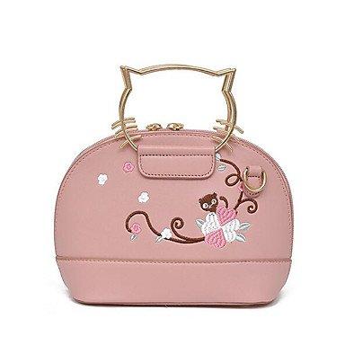 SUNNY KEY-Borsa a tracolla @ Donna Borsa a tracolla PU (Poliuretano) Per tutte le stagioni Casual Rotondi Cerniera Bianco Nero Rosso Rosa , blushing pink white