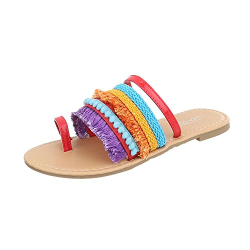 Ital-Design Chaussures Femme Sandales Bloc Havaianas Tongs FitFlop rouge Multi