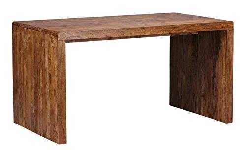 WOHNLING Schreibtisch Massiv-Holz Sheesham Computertisch 140 cm breit Echtholz Design Ablage Büro-Tisch Landhaus-Stil Natur-Produkt Büro-Möbel dunkel-braun Modern Büroeinrichtung rechteckig 76 cm hoch