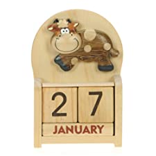 Cow Perpetual Calendar : Handcrafted Wood : Top Christmas Gift Idea : Traditional Xmas Present & Novelty Stocking Filler : For Children, Kids, Boys, Girls, Him, Her & Fun Loving Adults! : 50+ Garden Bird, Animal & Transport Designs (Size 10.5x7x3.5cm)