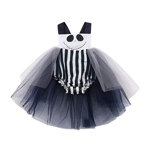 Sloater Halloween Kostüm Baby Halloween Baby Kleid Neugeborenes Baby Mädchen Jungen Halloween Cartoon Streifen Print Prinzessin Kleid Schwarz ädchen Kleid Halloween Kleid Kinder (Baby Königin Der Herzen Kostüm)