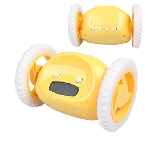 Despertador creativo con las ruedas, las ruedas funcionarán, despertador loco encantador de la pereza loco, manera y personalidad, reloj del fugitivo con las ruedas móviles para los regalos de los cabritos (Amarillo)