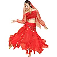 TianBin Femme Indienne Belly Danse Costumes Manches Longues Top Jupe à  Volants Performance Ensemble 7c2d88d1840