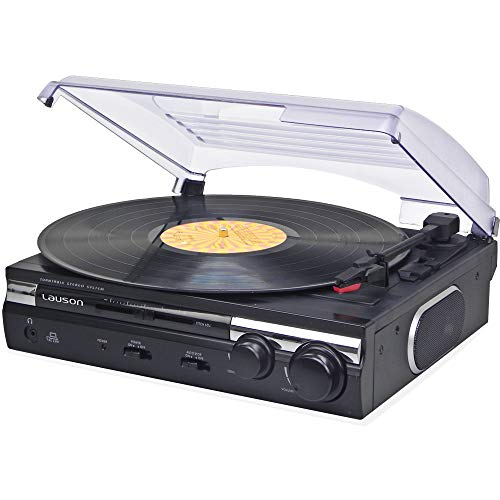 Lauson Giradischi Vinile Vintage USB | Convertitore da Vinile a MP3 | Record Player Stereo | RCA | Lettore Retró e Altoparlanti Integrati | CL611 (Nero)