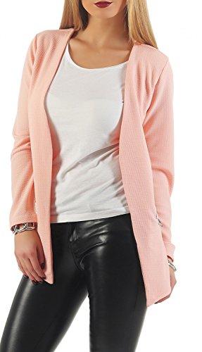 Danaest - Veste de tailleur - Blouson - Uni - Manches Longues - Femme Rose