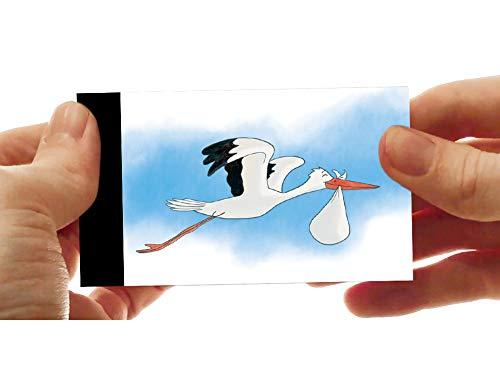 LCDG Der Storch und das Kind : das Flipbook - anpassbare Geburtsanzeige - auch ideal als kleines Buch für Kinder - Mini Daumenkino mit Tieren für Kinder - Stork delivery