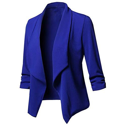 GJKK Damen Elegant Blazer Einfarbig Oversize Cardigan Strickjacken Langarm Freizeitjacke Casual Jacke Mantel Längere Bolero (Hundeleine Und-kragen-kariertes)