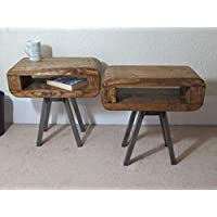 307: Retro style Slim side or bedside tables rustic industrial set of two