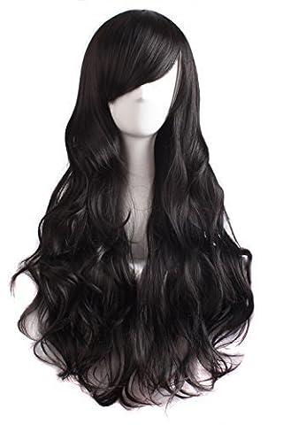 MapofBeauty Seitenscheitel Pony charmante Frauen lange lockige volle Haar Gewellt Perücke (schwarz)