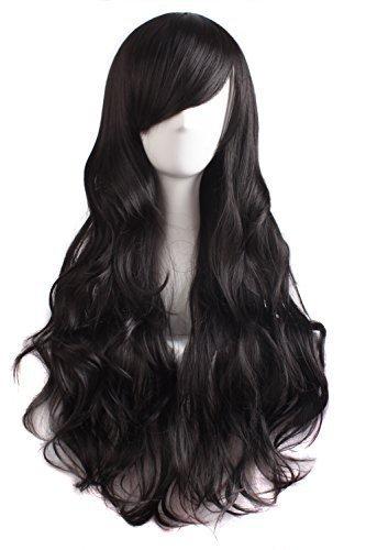 Frauen Schwarze Perücken (MapofBeauty Seitenscheitel Pony charmante Frauen lange lockige volle Haar Gewellt Perücke)