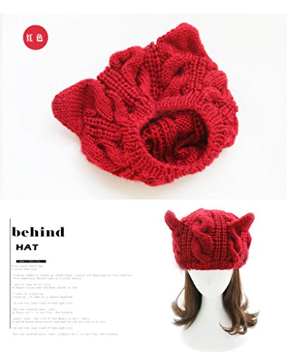Aza Boutique, mantella da donna in tweed, con cappuccio, bottoni, orecchie di gatto Hat_Red