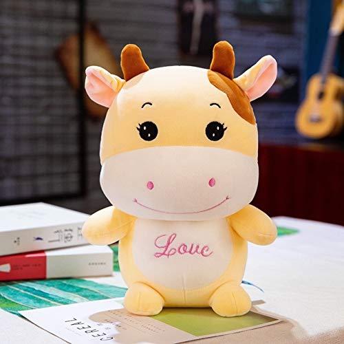 ahzha Höhe Große Plüsch Süße Kuh Puppe Spielzeug Süße Kuh Schlaf Mit Baby Puppe Geburtstagsgeschenk Gelb 35Cm