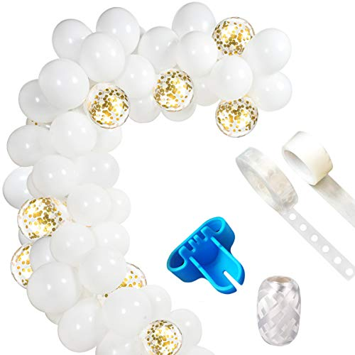 Ballon Bogen Girlande, Weiß und Gold Ballon Bogen Girlande Kit (insgesamt 114 Stück) für Weiß und Gold Geburtstag Baby Shower Hochzeitsfest Dekorationen ()