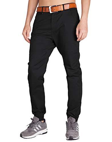 ITALY MORN Pantalón para Hombre Chino Casual Jogging Algodón Slim Fit 11 Colores (30, Negro)