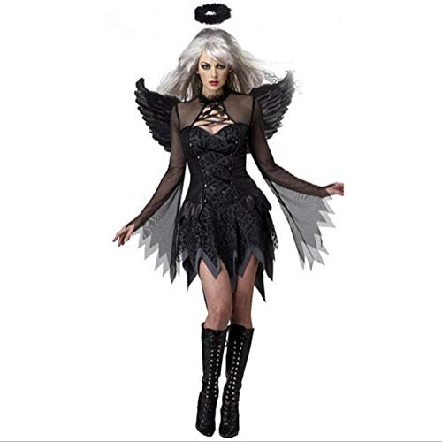 Halloween-Kostüm, Dame Role Playing Vampire Demon Dark Angel Uniform,Black,XL