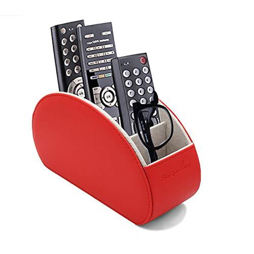 Fernbedienungshalter PU Leder TV Stift Bleistift Remote Organizer mit 5 Geräumigen Fächern für Wohnzimmer und Büro (rot) (Remote-organizer)