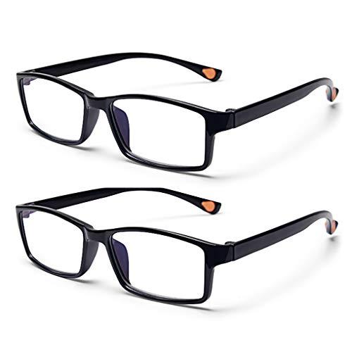 Lesebrille Computer, 2 Paar Anti Glare Anti Reflection Classic Qualität Comfort Brille für Männer und Frauen Brille, (schwarz/braun)