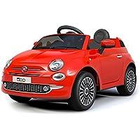 B90106 Coche eléctrico para niños FIAT 500 cabrio asiento cuero 12V Teledirigido - Rojo