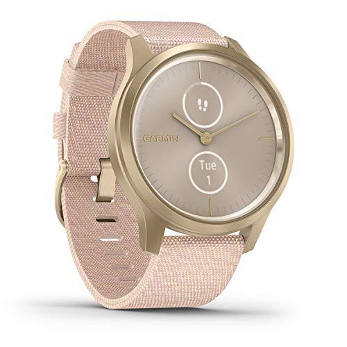 Garmin vívomove Style - stilvolle Hybrid-Smartwatch mit 2 brillanten AMOLED-Farbdisplays und Nylon Armband, Sport-Apps und Fitness-/Gesundheitsdaten, wasserdicht, 5 Tage Akkulaufzeit, Fitness Tracker