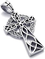mendino joyas para hombre Vintage tradicional Heritage Acero Inoxidable Antiguo irlandés nudo cruz celta colgante color plata (con bolsa de regalo)