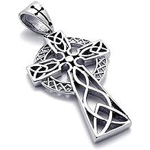 Collar de eslabones de 56 cm con colgante MENDINO para hombre con cruz celta de acero inoxidable envejecido color plateado