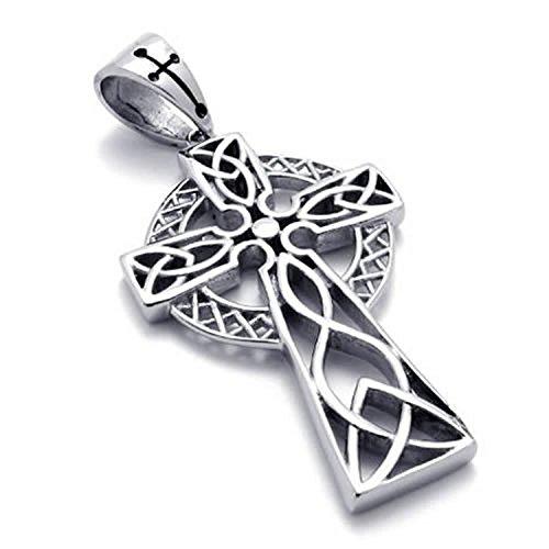 Mendino gioielli da uomo Collana in acciaio inox con croce celtica patrimonio tradizionale Vintage Irlandese, Ciondolo di Colore Argento (con borsa regalo)