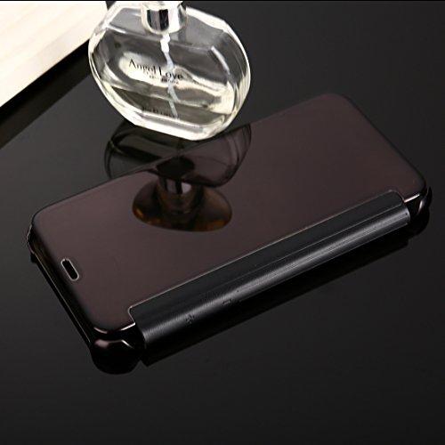 Wkae Galvanisierender Spiegel Horizontaler Schlag-Leder-Kasten für iPhone X ( Color : Silver ) Black