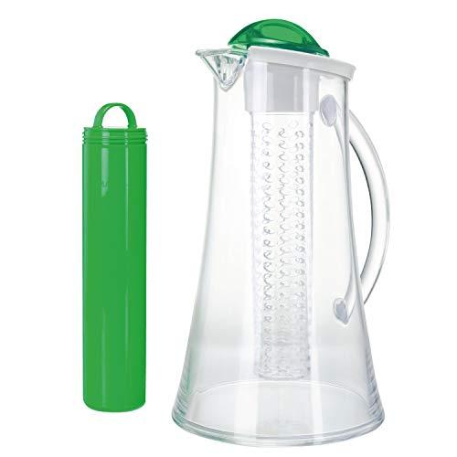 bremermann® Kühlkaraffe, Wasserkaraffe 2,4 Liter mit Kühl- und Aromastab (grün)