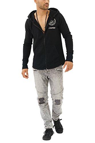 trueprodigy Casual Herren Marken Sweatjacke mit Aufdruck, Oberteil cool und stylisch mit Kapuze (Langarm & Slim Fit), Sweat Jacke für Männer in Farbe: Schwarz 2682102-2999 Black