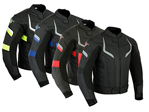 Mens Texpeed Pro Black Leather Motorcycle Motorbike Racing Jacket With  Removable Armour In 3 Colours 53c54b020