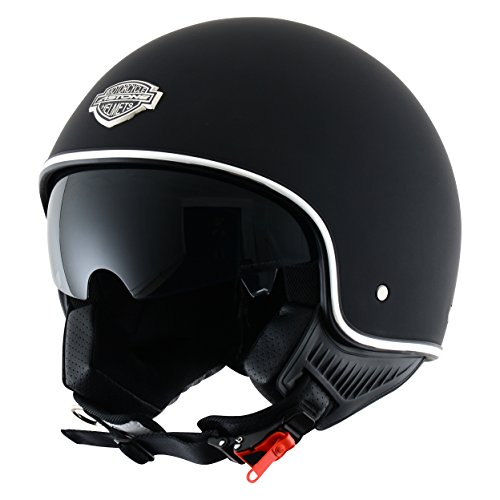 Astone Helmets, Casco Jet, color Negro Matt Negro